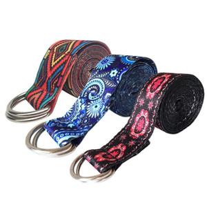 Printed Stretch Belt Durable Adjustable Sport Stretch Strap Belts Gym Waist Leg Fitness Yoga Belt Polyester + Cotton