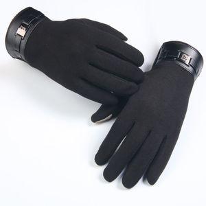 Winter Mens Full Finger Smartphone Touch Screen Cashmere Gloves Mittens Male driving punk gloves Men skeleton Luxurious gloves
