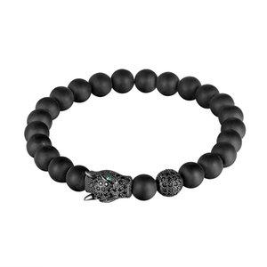 LIVVY High quality leopard head black volcanic lava stone natural pearl bracelet men bracelet pad elastic line bracelet AS248