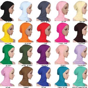 Designer Muslim Women Cobertura Interior Hijab Mulher lenços cor sólida Plain underscarf Cap lenço de algodão mercerizado Ladies Hat cny1370