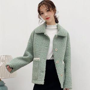Eachin Damen Winterjacke mit Fell Female Fashion Maxi-Taschen-Revers-Kragen-lange Hülsen-lose Streetoberbekleidung-Mantel