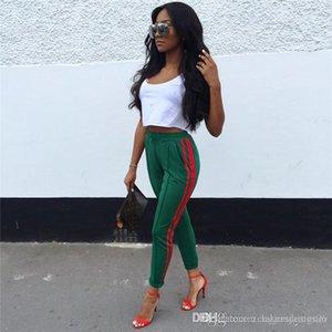 Colore elastico in vita a righe Stampa femminile Abbigliamento sportivo Moda Abbigliamento Donna sportiva Desinger pantaloni estate Solid