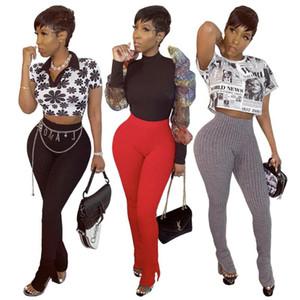 HHDMV Весенняя мода горячая распродажа 2020 повседневный уличный стиль длинные брюки эластичный чистый цвет высокая талия вязание простые длинные брюки