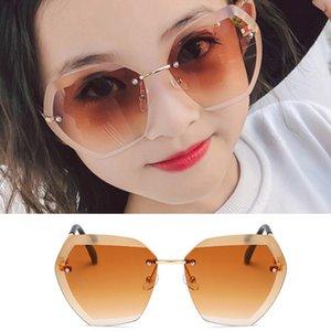 Polygon Frameless Diamond Trimming Sunglasses Kids Retro UV Protection Elegant Frameless Children's Sunglasses5YSY#