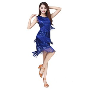 Sleeveless sequined fringed dress for Latin dance stage costume competition costume cha cha Latin dance performance costume Party Dresses