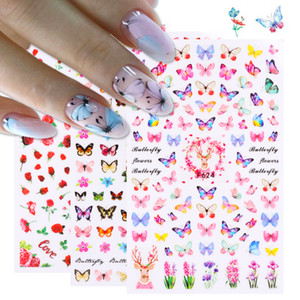3D Butterfly Sliders Nail Stickers Colorful Flowers Red Rose Adhesives Manicure Decals Nail Foils Tattoo Decorations NP003