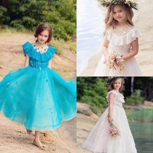 Светло-розовый цветок девочки платья для свадьбы Бисероплетение Jewel шеи оборками атласная девушки Pageant платье Первого Причастия платье