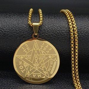Hexerei Pentagram Edelstahl Gliederketten für Männer Goldfarben-Ketten-Anhänger-Schmuck cadenas para hombre N1163S02