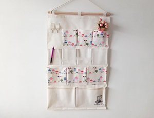 45*74cm House Car Printed Pockets Storage Hanging Bag Sundries Storage Bag Multi-layer Fabric Cotton Linen Bag Can be Hanging Key