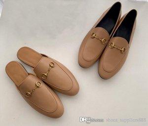 Verbesserte Version des neuen Auflistung Einzel ziehen, italienische Kalbsleder Pantoffel Leder Faulenzer mit niedrigen Absätzen für Frauen Pantoffel