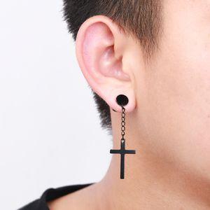 ewelry & Accessories Stainless Steel Cross Pendant Tassel Dangle Earrings For Women men Hiphop Jewelry Punk Piercing Ear Nail Statement E...