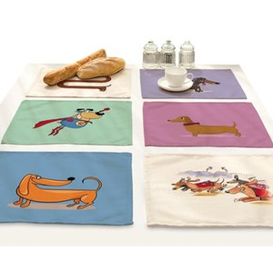 Cartoon Dachshund Dog Animal Printing Placemat Drink Coasters Home Accessories Kitchen Place Mats For Dining Table Bar Mat Pad T200703