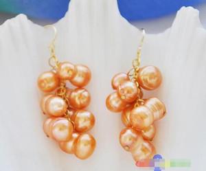 여성 패션 주얼리 무료 배송 16MM 오렌지 땅콩 FRESHWATER PEARL 포도 DANGLE EARRING 6.10