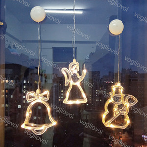 Рождественские огни Window Sucker Lamp 3000K ABS снеговика Bell Stars Tree Angel Elk Крытый Декоративное для обустройства дома Новый год День отдыха Свет DHL