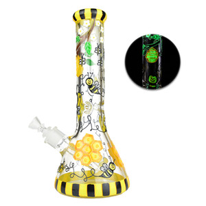 """Glow In The Dark Bee Glass Bong 12.5"""" Tall 7mm Thick Glass Water Pipe Dab Oil Rigs Beaker Bongs 18.8mm Joint"""