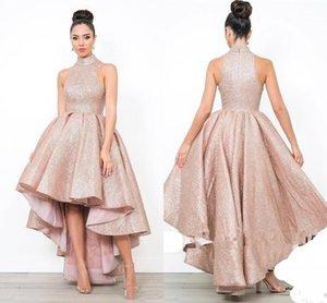 Ogstuff Brilhante Dubai Árabe Prom Vestidos Sequins alta Neck Ruffle Partido Evening High Low vestidos de mulheres formal vestidos longos Partido 2019