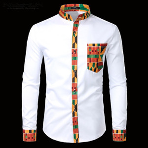 INCERUN Men Shirt Printed Patchwork Long Sleeve Button Stand Collar Casual Tops Ethnic Dashiki Men Shirts African Clothes S-3XL
