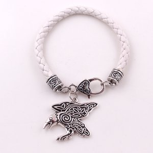 HY186 2019 diseño de moda hombre y mujer cuervo colgante joyas cuervo joyería encanto pulsera con cadena de cuero