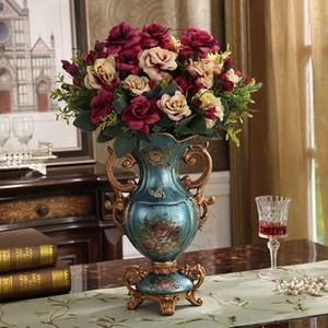 De lujo de Europa Palace resina florero ornamento Inicio de Escritorio figurines hace el regalo de boda Decoración de American Retro seda Tiesto SH190925