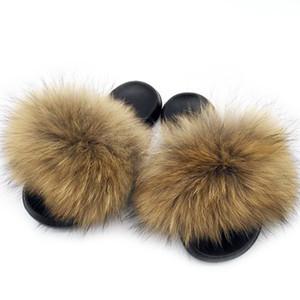 Kadınlar Yaz Gerçek Fox Kürk Slaytlar Kadınlar Kaymaz Kabarık Kürk Terlik Kadınlar Kürklü Terlik Bayanlar Sevimli Peluş Fox Saç Terlik Sıcak 1pairs / 2adet