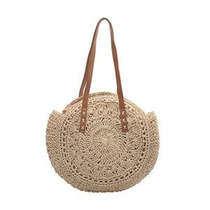 Women Straw Beach Handbag Pure Color Round Tote Crossbody Bags Ladies Clutch Shoulder Bag Purse Sac A Main #T1G