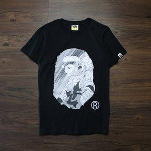 2019 여름 새로운 원숭이 티셔츠 십대 인쇄 T 셔츠 오프 남성의 레저 라운드 넥 느슨한 반팔 화이트 풀오버 저스틴 비버 (Justin Bieber) 셔츠