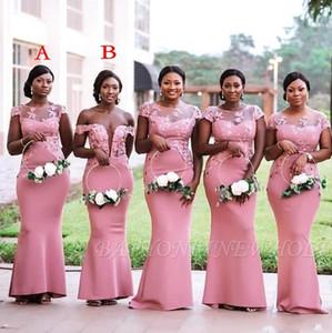 Chic ragazze della Nigeria del Sud Africa Pink Mermaid Bridesmaids Dresses Nuovo Plus Size Sheer Neck Appliques Piano Lunghezza Cameriera di abiti d'onore BC1010