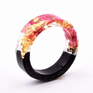 Qiaose Nuevo diseño Hecho a mano Novedad secreta Anillo de resina de madera Flores Plantas Dentro de la joyería Nuevo anillo de madera AniversarioQiaose Nuevo diseño