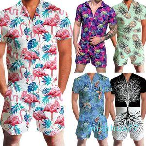 Fashion-Men Rompers Short Sleeve Street One Piece Zipper Romper Beach Casual Cargo Pants Jumpsuit Overall Shirt T-Shirt Shorts Set