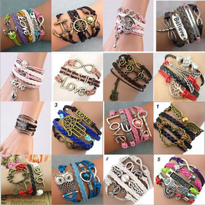 DIY Bracelets Leather Braided Bracelets Hot Selling Infinit Multilayer Bracelet For Girl Fashion Jewelry Wholesale Free Shipping 0009DR