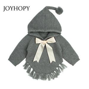 JOYHOPY الطفل البلوزات مقنع بنات محبوك سترة الخريف الشتاء BOWKNOT طفل الرضيع صوفية للأطفال