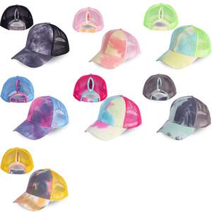 Cabelo Comprido Rabo Mulheres Verão Tie-dye Baseball Cap Lantejoula Partido Top Hat Open Back Hat Verão Beleza malha Cap XD23664