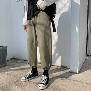Summer New Fashion Sports Pants Men's Loose Chic Port Breeze Nine Minute Pants Men's Feet Feel Wide Legs Straight