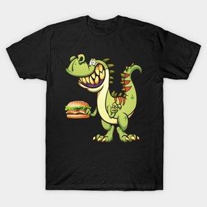 Homens camisetas T Rex Eating Hot Spicy Fried Chicken Hamburger Sandwich tshirt mulheres camiseta