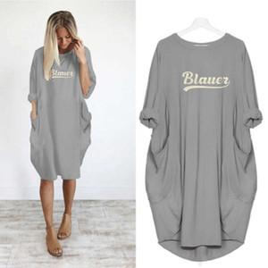 فساتين شيت المرأة الجديدة مع رسالة Pinted 2020 أزياء المرأة قصيرة الأكمام تي شيرت اللباس للالشارع الشهير S / S الحجم S-5XL فساتين D002B026