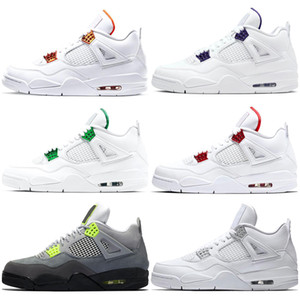 jumpman 4s Men Outdoor Basketball Shoes 4 What the Neon Bred Pure Money Metallic Pack Black Cat Chaussures Mens Sport Sneaker
