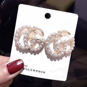 Elegante Ear fascino della perla della vite prigioniera regalo femminile Donne Lettera goccia di modo orecchino di pendente Per