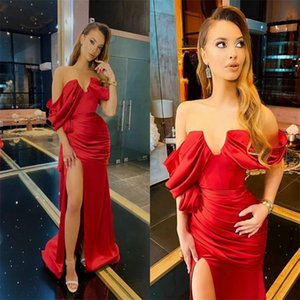 Sexy Red Mermaid Evening Dresses Sweetheart Sleeveless High-split Prom Dresses Sweep Train Ruched Satin Cheap Formal Party Dresses