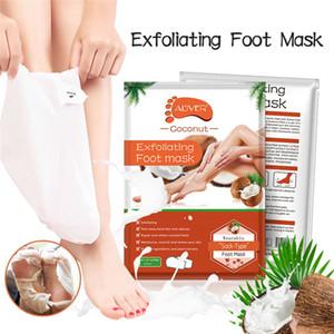 ALIVER Ginseng Masque Gommant Pied Retirer coco Dead Skin Mask pied Réparer les problèmes de pied chaussettes protègent les pieds chaussettes blanchissant