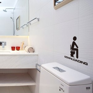 HonC Creative Toilet Pegatinas de pared impermeables Decoración del hogar extraíble Tatuajes de arte de pared Papel tapiz Etiqueta de puerta de baño