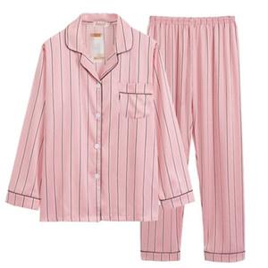 Rosa pigiama a righe in raso di seta Femme Pajama Set Stitch completa Pantaloni Lady Due pezzo donne Sleepwear Pjs