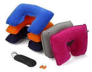 3 в 1 Открытый путешествия Отдых на природе автомобилей Самолет Travel Kit Надувная подушка шеи случай Подушка поддержки + Eye Shade Маска Блиндер + беруши