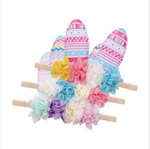 Pasqua neonate fasce bello sveglio dell'orecchio di coniglio dei capelli della fascia dei bambini Infant Headwrap Fiori Stampa accessori elastici dei capelli della ragazza merci E22703
