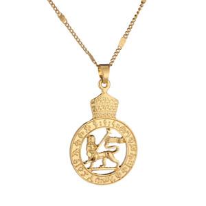 Золотой Цвет Эфиопский Лев Кулон Ожерелье Африканский Эритрея Модный Круглый Кулон Ювелирные Изделия