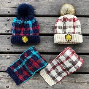 Sombreros de invierno Conjunto de bufanda Sombreros de lana a cuadros Gorros de lana de punto para niños Gorros de esquí Sombrero de pompón cálido al aire libre GGA2480