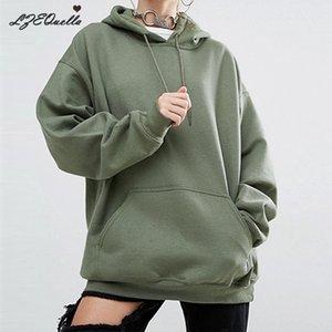 Femmes hiver casual polaire mode Hoodies Sweatshirts à manches longues noir fille Pulls lâche capuche Femme épais manteau