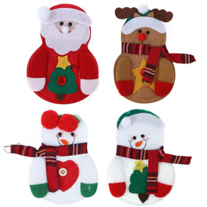 Netter Beutel-Halter-Löffel-Messer-Gabel-Abdeckung Weihnachtsmann Schneemann Elk Stil Utensilien Pouch Weihnachten Neujahr Dekoration Geschirr