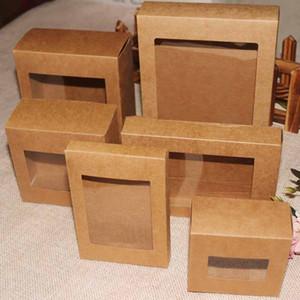 20 Pz colore fai da te pacchetto del contenitore di regalo di carta kraft con chiare finestre in pvc caramelle favori artskrafts scatola confezione schermo