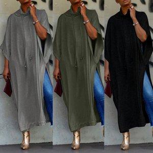 2020 ZANZEA Long Sleeve Maxi Dress Womens Sundress Female Drawstring Pile Collar Split Sarafans Vestido Tunic Robe 5XL MX200518