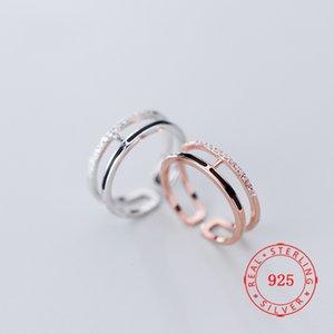 Wirkliche Offene 925 Sterlingsilber-Ringe für Frauen Double Lines Schmuck China Guangzhou Schmuck-Markt billig Großhandel